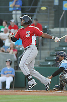 Salem Red Sox outfielder Brandon Jacobs #24 at bat during a game against the Myrtle Beach Pelicans at Tickerreturn.com Field at Pelicans Ballpark on May 11, 2012 in Myrtle Beach, South Carolina. Salem defeated Myrtle Beach by the score of 5-3 in 14 innings. (Robert Gurganus/Four Seam Images)
