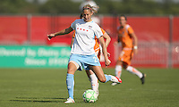 Red Stars defender Marian Dalmy passes the ball back to her goalkeeper. Sky Blue defeated the Chicago Red Stars 1-0 on Sunday, July 19, 2009.