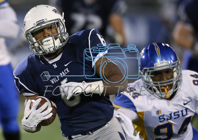 Nevada's Don Jackson (6) runs away from the San Jose State defense during the second half of an NCAA college football game in Reno, Nev., on Saturday, Nov. 16, 2013.<br /> (AP Photo/ Cathleen Allison).