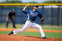 GCL Rays relief pitcher Jesus Ortiz (18) delivers a pitch during the first game of a doubleheader against the GCL Twins on July 18, 2017 at Charlotte Sports Park in Port Charlotte, Florida.  GCL Twins defeated the GCL Rays 11-5 in a continuation of a game that was suspended on July 17th at CenturyLink Sports Complex in Fort Myers, Florida due to inclement weather.  (Mike Janes/Four Seam Images)