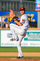Wisconsin Timber Rattlers pitcher Zack Brown (17) delivers a pitch during game one of a Midwest League doubleheader against the Kane County Cougars on June 23, 2017 at Fox Cities Stadium in Appleton, Wisconsin.  Kane County defeated Wisconsin 4-3. (Brad Krause/Four Seam Images)