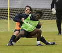 29/07/2005         Copyright Pic : James Stewart.File Name : jspa07 falkirk training.FALKIRK'S TIAGO JONAS RODRIGUES AND RUSSELL LATAPY DURING THE FINAL TRAINING SESSION BEFORE THEIR TEAM'S DEBUT IN THE SCOTTISH PREMIER LEAGUE.....Payments to :.James Stewart Photo Agency 19 Carronlea Drive, Falkirk. FK2 8DN      Vat Reg No. 607 6932 25.Office     : +44 (0)1324 570906     .Mobile   : +44 (0)7721 416997.Fax         : +44 (0)1324 570906.E-mail  :  jim@jspa.co.uk.If you require further information then contact Jim Stewart on any of the numbers above.........