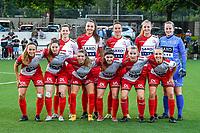 team picture Zulte-Waregem ( Summer Rogiers (8) , Romy Camps (3) , Charlotte Laridon (9) , Lotte De Wilde (19) , goalkeeper Lowiese Seynhaeve (1) and Pauline Windels (5) , Anne Lore Scherrens (22) , Talitha De Groote (17) , Liesa Capiau (15) , Laura Vervacke (20) , Ella Vierendeels (4) ) before a female soccer game between Sporting Charleroi and SV Zulte-Waregem on the third matchday in the 2021 - 2022 season of Belgian Scooore Womens Super League , friday 3 September 2021 in Marcinelle , Belgium . PHOTO SPORTPIX | STIJN AUDOOREN