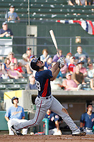 Potomac Nationals infielder Nick Basto (28) at bat during a game against the Myrtle Beach Pelicans at Ticketreturn.com Field at Pelicans Ballpark on July 1, 2018 in Myrtle Beach, South Carolina. Myrtle Beach defeated Potomac 6-1. (Robert Gurganus/Four Seam Images)