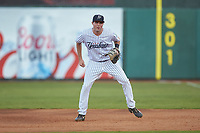 Pulaski Yankees first baseman Jake Farrell (72) on defense against the Burlington Royals at Calfee Park on August 31, 2019 in Pulaski, Virginia. The Yankees defeated the Royals 6-0. (Brian Westerholt/Four Seam Images)