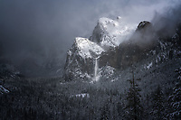Winter storm and Bridalveil Falls