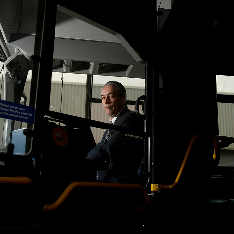 © John Angerson <br /> Bus driver Paul Webb at the Arriva bus garage in Lee Valley London. <br /> +44 (0) 7767 822828