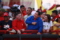 Venezuelan President Hugo Chavez in his campaign rally in Zulia state . Chavez will try to get a fourth term as President