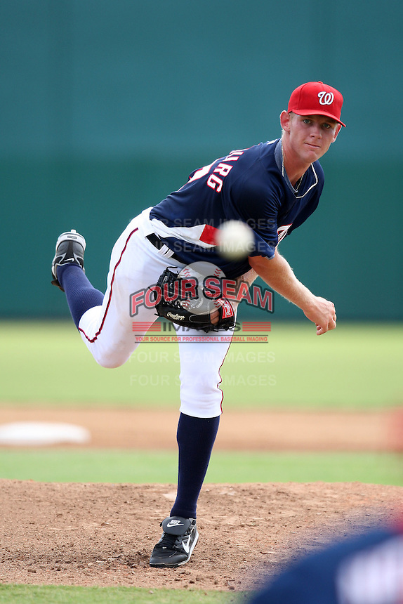 October 5, 2009:  Starting Pitcher Stephen Strasburg of the Washington Nationals organization delivers a pitch while making his professional debut in the Instructional League game at Space Coast Stadium in Viera, FL.  Strasburg pitched two innings allowing one run on three hits with a pitch limit of 40.  Photo by:  Mike Janes/Four Seam Images