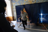 A Donetsk's citizen votes in a school used as a polling station. Donetsk region and Lugansk vote for separation of the Eastern Ukraine. Donetsk, Ukraine.