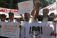 "Palestinian journalists protest in Gaza City against attacks on of journalists in the Palestinian territories, 28 August 2007.""photo by Fady Adwan"""