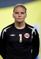 Erika Skarboe. The US lost to Norway, 2-0, during first round play at the 2008 Beijing Olympics in Qinhuangdao, China.
