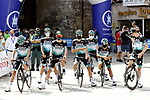 Bora-Hansgrohe team line up with face masks for the first race post Covid19 the Vuelta a Burgos 2020, 42nd Edition, with the 1st stage running 157km from the Catedral de Burgos to Mirador del Castillo Burgos, Spain. 28th July 2020. <br /> Picture: Bora-Hansgrohe/Luis Angel Gomez/BettiniPhoto | Cyclefile<br /> <br /> All photos usage must carry mandatory copyright credit (© Cyclefile | Bora-Hansgrohe/Luis Angel Gomez/BettiniPhoto)