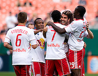 Juan Pablo Angel (9) of the New York Red Bulls is surrounded by Roy Miller (7), Salou Ibrahim (29) and other teammates after scoring at RFK Stadium in Washington, DC.  The New York Red Bulls defeated D.CC United, 2-0.