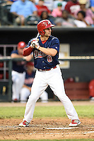 Memphis Redbirds shortstop Pete Kozma (8) at bat during a game against the Oklahoma City RedHawks on May 23, 2014 at AutoZone Park in Memphis, Tennessee.  Oklahoma City defeated Memphis 12-10.  (Mike Janes/Four Seam Images)