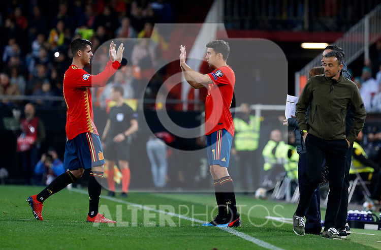 Spain's Alvaro Morata and Spain's Jaime Mata during the Qualifiers - Group F to Euro 2020 football match between Spain and Norway on 23th March, 2019 in Valencia, Spain. (ALTERPHOTOS/Manu R.B.)
