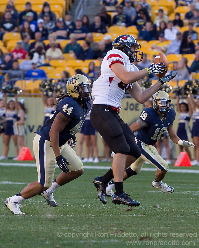 Gardner-Webb tight end Seth Cranfill (86) makes a catch as Pitt linebacker Shane Gordon (44) and safety Jarred Holley (18) defend. The Pitt Panthers defeated the Gardner-Webb Runnin Bulldogs 55-10 at Heinz Field, Pittsburgh PA on September 22, 2012..