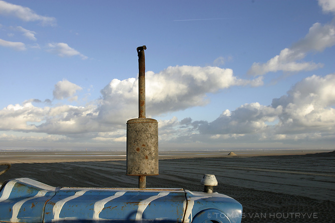 A tractor used for grooming the sand rests on the beach in Oostduinkerke, Belgium on 3 December, 2004.<br />