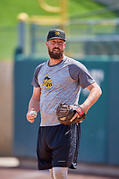 Forrest Snow (36) of the Salt Lake Bees before the game against the Albuquerque Isotopes at Smith's Ballpark on April 27, 2019 in Salt Lake City, Utah. The Isotopes defeated the Bees 10-7. This was a makeup game from April 26, 2019 that was cancelled due to rain. (Stephen Smith/Four Seam Images)