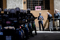 polizia ready for roll-out at the race start in Siena<br /> <br /> 104th Giro d'Italia 2021 (2.UWT)<br /> Stage 12 from Siena to Bagno di Romagna (212km)<br /> <br /> ©kramon