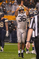 Penn State linebacker Jan Johnson signals a safety. The Penn State Nittany Lions defeated the Pitt Panthers 51-6 on September 08, 2018 at Heinz Field in Pittsburgh, Pennsylvania.