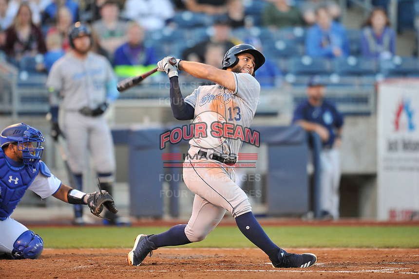 Corpus Christi Hooks third baseman Abraham Toro (13) swings at a pitch against the Tulsa Drillers at Oneok Stadium on May 4, 2019 in Tulsa, Oklahoma.  The Hooks won 9-7.  (Dennis Hubbard/Four Seam Images)
