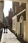 Middle Temple Lane Inns of Court. London UK. From the Gate House looking south toards the Embankment.