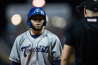 Wilyer Abreu (24) of the Asheville Tourists looks at home plate umpire Sean Cassidy after being called out on strikes during the game against the Winston-Salem Dash at Truist Stadium on September 17, 2021 in Winston-Salem, North Carolina. (Brian Westerholt/Four Seam Images)