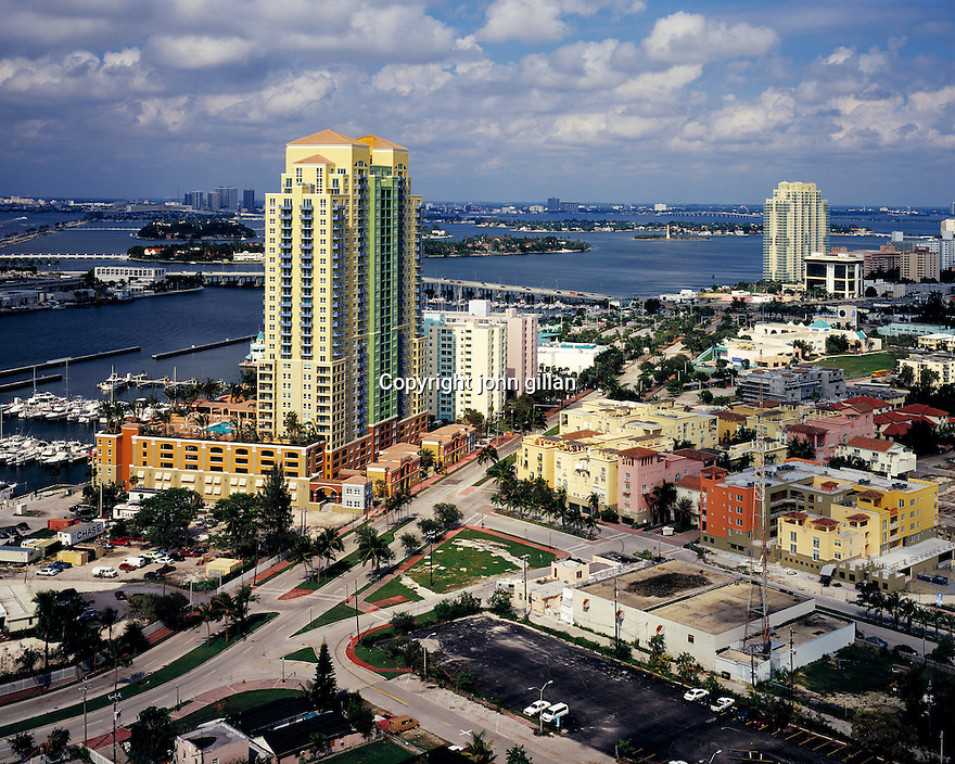 Exterior view of the Portafino Yacht Club located on Miami Beach.