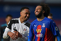 Kenny Tete of Fulham and Jaïro Riedewald of Crystal Palace after the Premier League behind closed doors match between Crystal Palace and Fulham at Selhurst Park, London, England on 28 February 2021. Photo by Vince Mignott / PRiME Media Images.