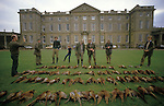 Joss Hanbury owner before he sold to Asil Nadir of Polly peck.  Joss Hanbury later bought property back when Nadir fled the country. ( third left green jumper) Pheasant Shooting. Counting out the bag at Burley House. Burley on the Hill Rutland.