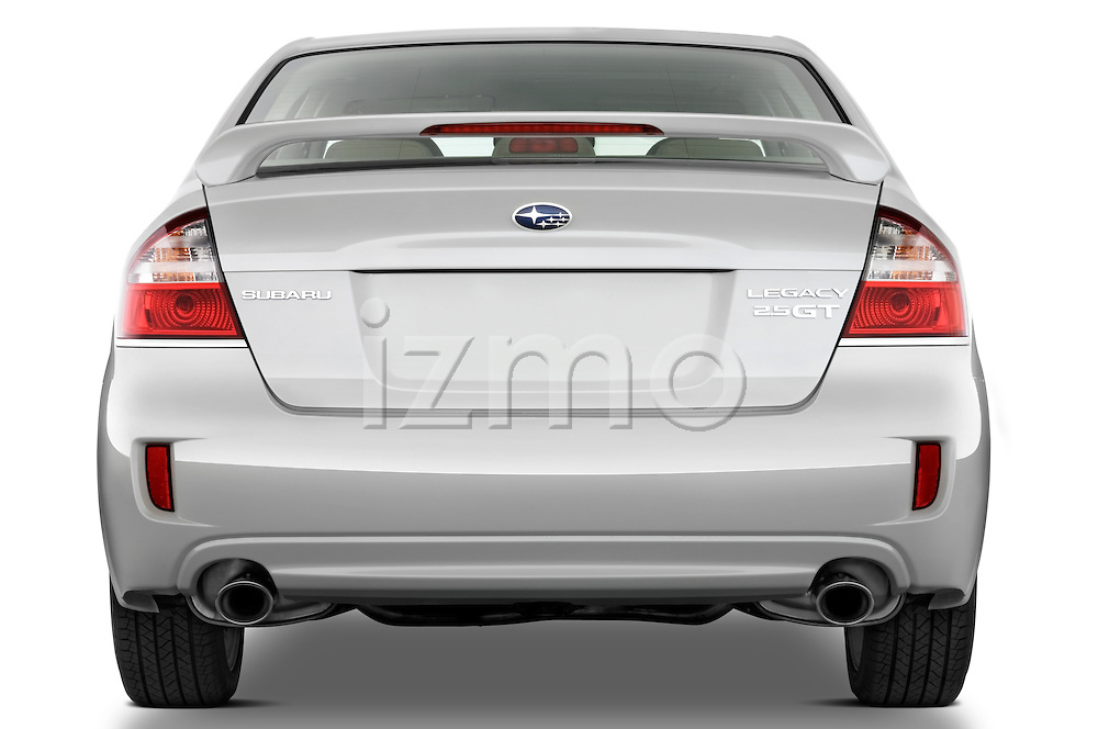 Straight rear view of a 2008 Subaru Legacy GT sedan