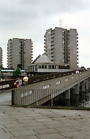 London:  Thamesmead--moderate high-rise, 12 stories.  Photo '90.