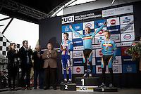 U23 men's podium:<br /> 1/ Eli Iserbyt (BEL)<br /> 2/ Adam Toupalic (CZE)<br /> 3/ Quinten Hermans (BEL)<br /> <br /> U23 men's race<br /> <br /> UCI 2016 cyclocross World Championships / Zolder, Belgium
