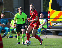Fien Broeckaert (9) of Belgium  in action during an international friendly female soccer game between the national teams of Belgium , called the Red Flames U17 and the Netherlands on Wednesday 8th of September 2020  in Kalmthout , Belgium . PHOTO SPORTPIX.BE | SPP | SEVIL OKTEM