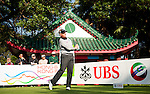 Colin Montgomerie tees off from the eighteenth during Round 2 of the UBS Hong Kong Golf Open 2011 at Fanling Golf Course in Hong Kong on 1st December 2011. Photo © Victor Fraile / The Power of Sport Images