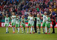 Football, Koeln, Germany , DFB-Pokalfinale wifeen,, <br />VFL Wolfsburg (WOB ) vs. FC Bayern M Muenchen 3-2 n.E.  Rhein-Energie stadium  in Koeln19. 05. 2018<br />Isabel KERSCHOWSKI (VFL),Caroline GRAHAM HANSEN (VFL),Noelle MARITZ (VFL) ,Zsanett JAKABFI (VFL) ,Joelle  WEDEMEYER (VFL) ,Sara Bjšrk GUNNARSDOTTIR (VFL) Lena GOESSLING(VFL) Nilla FISCHER (VFL) ,Ella MASAR(VFL)  , v.n.<br /> *** Local Caption *** © pixathlon<br /> Contact: +49-40-22 63 02 60 , info@pixathlon.de