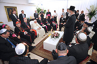 Pope Benedict XVI meets with Israeli chief Rabbis Yona Metzger, and Shlomo Amar, right, at the center for the Jewish Heritage in Jerusalem, Tuesday, May 12, 2009.