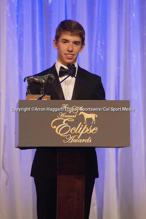 January 16, 2016:  Tyler Gaffalione is the winner of the 2015 Eclipse award for Top Apprentice jockey, Scenes from 2015 Eclipse Awards ceremony 2016. Gulfstream Park, Hallandale Beach (FL). Arron Haggart/ESW/CSM