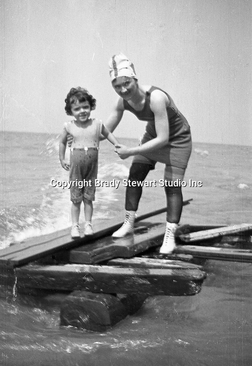 North East PA - Sarah and Helen Stewart having fun on the beach.   This was the Stewart family's first Lake Erie vacation after Brady Stewart served his country during World War 1. The Stewart family rented a cabin on Lake Erie near North East.