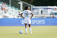 CARY, NC - SEPTEMBER 12: Crystal  Dunn #19 of the Portland Thorns wait for the whistle before a game between Portland Thorns FC and North Carolina Courage at WakeMed Soccer Park on September 12, 2021 in Cary, North Carolina.