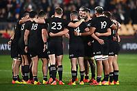 3rd July 2021, Auckland, New Zealand;  All Blacks huddle.<br /> New Zealand All Blacks versus Tonga, Steinlager Series, international rugby union test match. Mt Smart Stadium, Auckland. New Zealand.