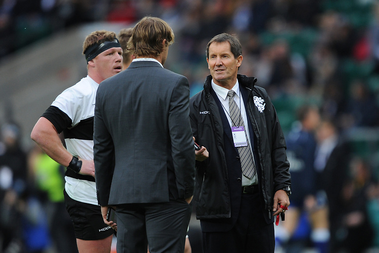 Robbie Deans, Barbarians Head Coach, speaks with Scott Robertson, Barbarians Assistant Coach, during the 125th Anniversary Match between Barbarians and New Zealand at Twickenham Stadium on Saturday 4th November 2017 (Photo by Rob Munro/Stewart Communications)