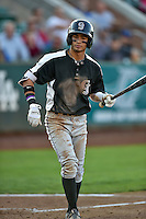 Manuel Melendez (1) of the Grand Junction Rockies at bat against the Ogden Raptors in Pioneer League action at Lindquist Field on August 25, 2016 in Ogden, Utah. The Rockies defeated the Raptors 12-3. (Stephen Smith/Four Seam Images)