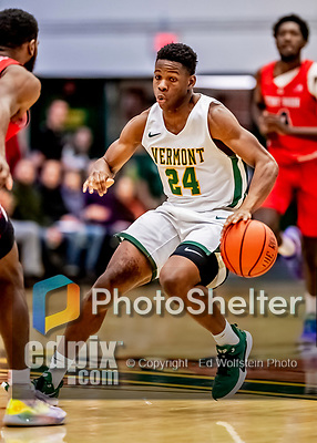 8 January 2020: University of Vermont Catamount Guard Ben Shungu, a Redshirt Junior from Burlington, VT, in first half action against the Stony Brook University Seawolves at Patrick Gymnasium in Burlington, Vermont. The Seawolves defeated the Catamounts 81-77 in a closely fought game. Mandatory Credit: Ed Wolfstein Photo *** RAW (NEF) Image File Available ***