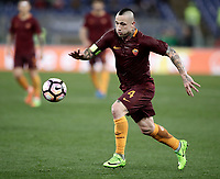 Calcio, Serie A: Roma, stadio Olimpico, 19 marzo, 2017<br /> Roma's Radja Nainggolan in action during the Italian Serie A football match between Roma and Sassuolo at Rome's Olympic stadium, March 19, 2017<br /> UPDATE IMAGES PRESS/Isabella Bonotto