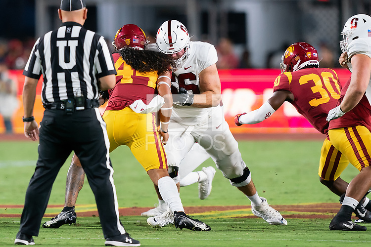 LOS ANGELES, CA - SEPTEMBER 11: Branson Bragg during a game between University of Southern California and Stanford Football at Los Angeles Memorial Coliseum on September 11, 2021 in Los Angeles, California.