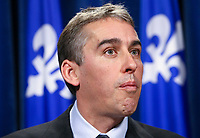 PQ MNA Nicolas Marceau reacts to a Conference board study at the National Assembly in Quebec City Thursday November 18, 2010. The Conference board reports Quebec is heading for an annual deficit of $45 billion by 2030-31<br /> <br /> PHOTO :  Francis Vachon - Agence Quebec Presse