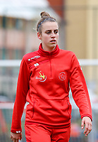 Sheila Broos (20 Woluwe) pictured before a female soccer game between FC Femina White Star Woluwe and Sporting Charleroi on the 10 th matchday of the 2020 - 2021 season of Belgian Scooore Womens Super League , Saturday 19 th of December 2020  in Woluwe , Belgium . PHOTO SPORTPIX.BE | SPP | SEVIL OKTEM