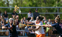 Newton, Massachusetts - May 11, 2018: NCAA Division I. In overtime, Princeton University (white) defeated Syracuse University (blue), 12-11, at Newton Campus Lacrosse Field.